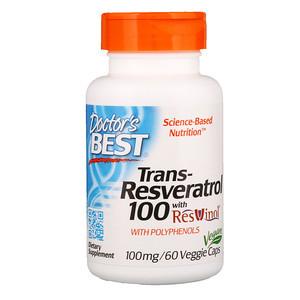 Транс-ресвератрол с экстрактом ResVinol-25, Doctor's Best, 100 mg, 60 капсул