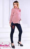 Джинсы для беременных с вышивкой G1242