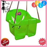 Детская качеля Малыш Технок 3015 Зеленая | качелька для ребенка | пластиковая подвесная качеля