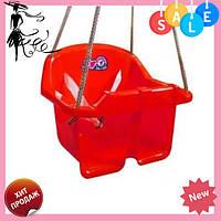 Детская качеля Малыш Технок 3015 Красная | качелька для ребенка | пластиковая подвесная качеля