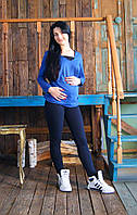 Лосины Фитнес для беременных (черные с синим отливом)