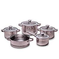 Набор посуды 9 предметов из нержавеющей стали Kamille KM-4505S кастрюли ковш и пароварка