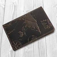 """Красиве портмоне з натуральної шкіри коричневого кольору, колекція """"7 wonders of the world"""", фото 1"""