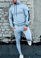 Мужской качественный спортивный костюм Admiral с лампасами и капюшоном серого цвета