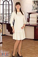 Платье для беременных и кормящих с воланом (молочное)