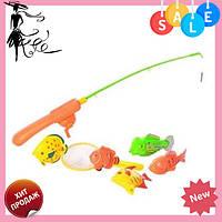 Игрушка для детей магнитная рыбалка M 0038 U/R удочка с магнитом, сачок, 5 рыбок, на листе, 18-58-6см