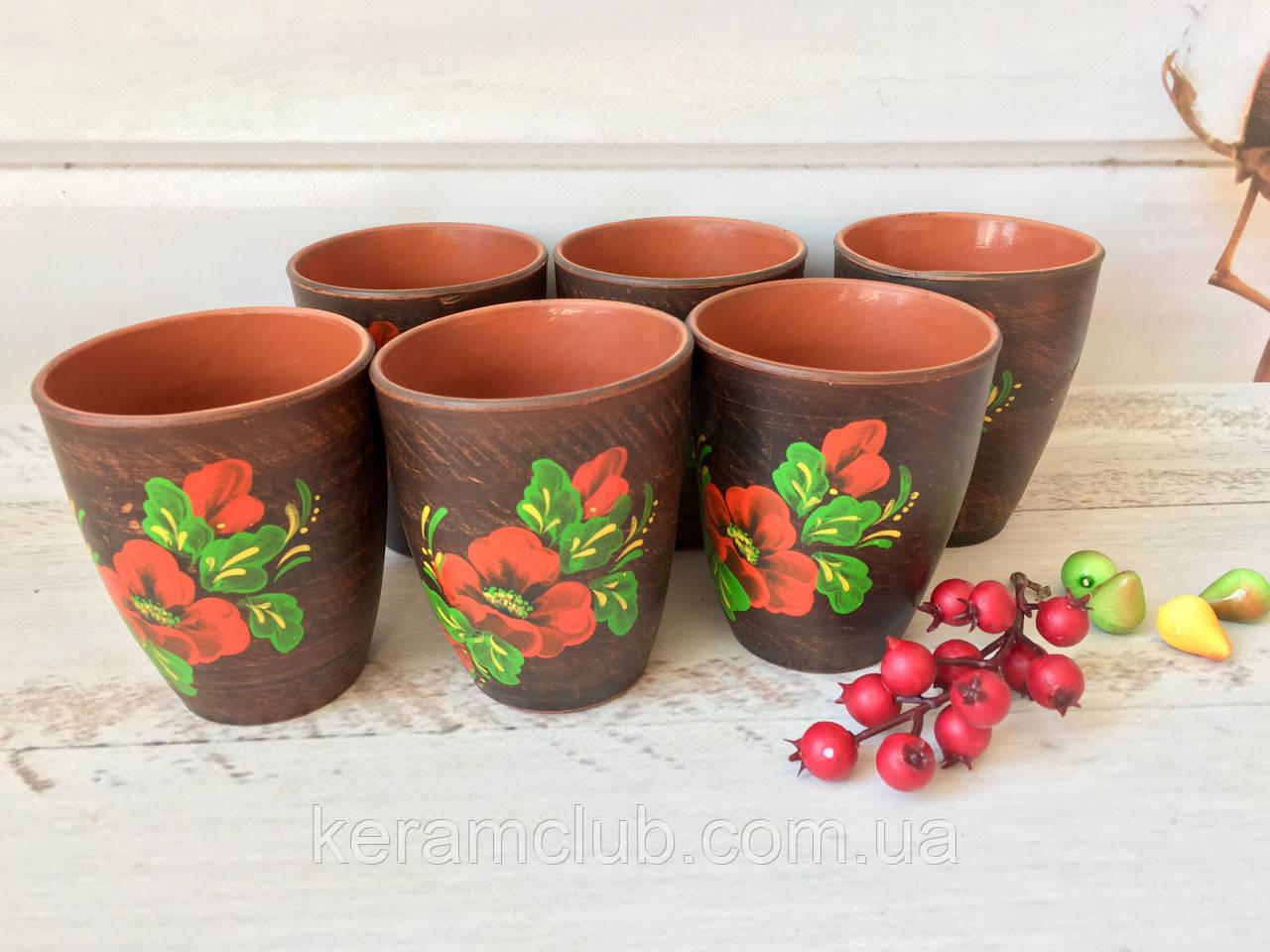 Набор стаканов из красной глины 300 мл (6 шт) с рисунком