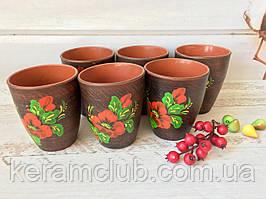 Набір склянок з червоної глини Керамклуб 300 мл 6 шт з малюнком