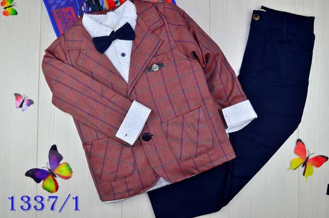 Нарядный костюм тройка котонновый на мальчика джентельмен 6 лет, фото 2