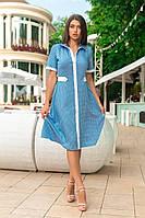 Платье с летнего джинса с льняной отделкой, фото 1