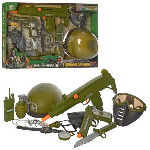 Набор военного 12 предметов, автомат со звуком