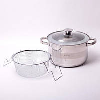 Набор посуды кастрюля с крышкой 6.5 л вкладка дуршлаг для макарон Kamille KM-4514S