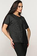 Свободная лёгкая черная женская блуза футболка RiMari Хейди 42, 44