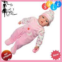 Пупс игрушечный в розовой одежде M 3859 UA LIMO TOY мягконабивной, музыкально-звуковой | детская кукла 4 вида