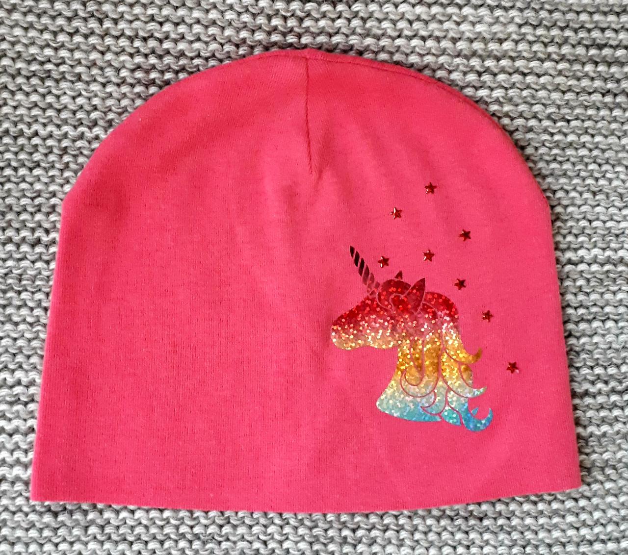 Шапка весна-осень на девочку розового цвета ТМ Fido (Польша)  размер  46 48