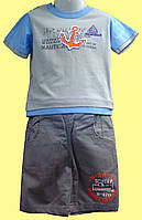 """Комплект для мальчика """"Якорь"""": серая футболка и шортики"""