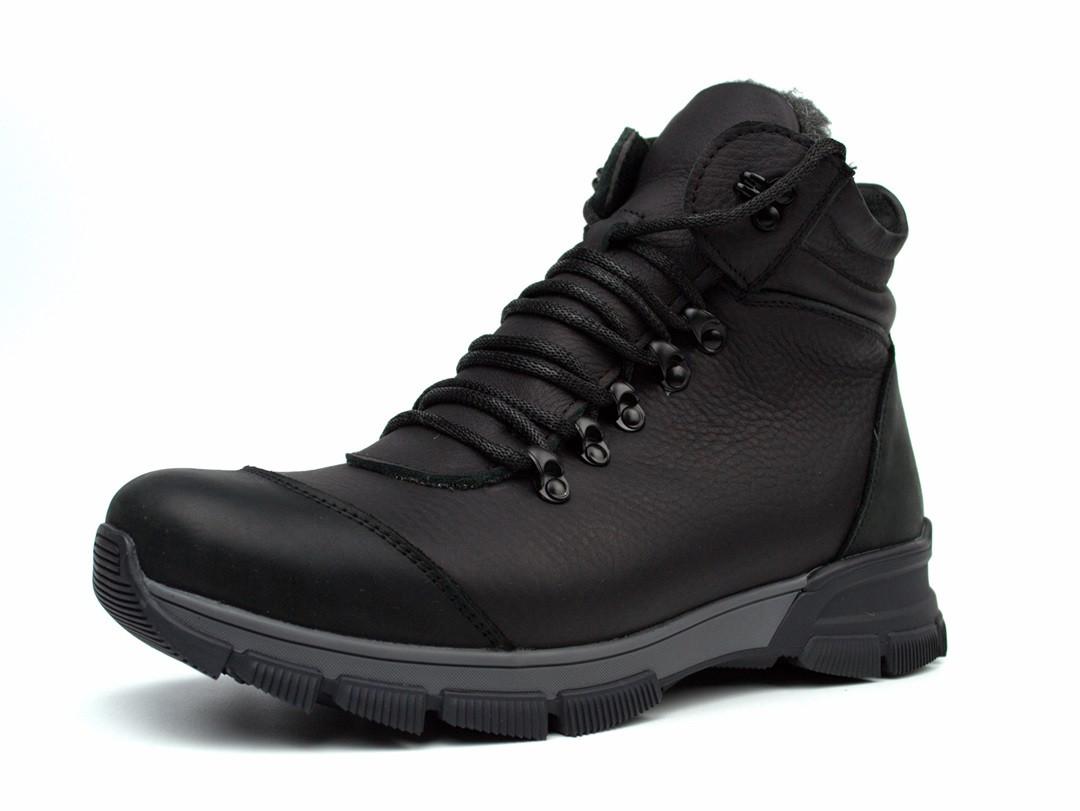 Зимние черные матовые кожаные ботинки на овчине мужская обувь Rosso Avangard Lomer 2 Black Matte Leather