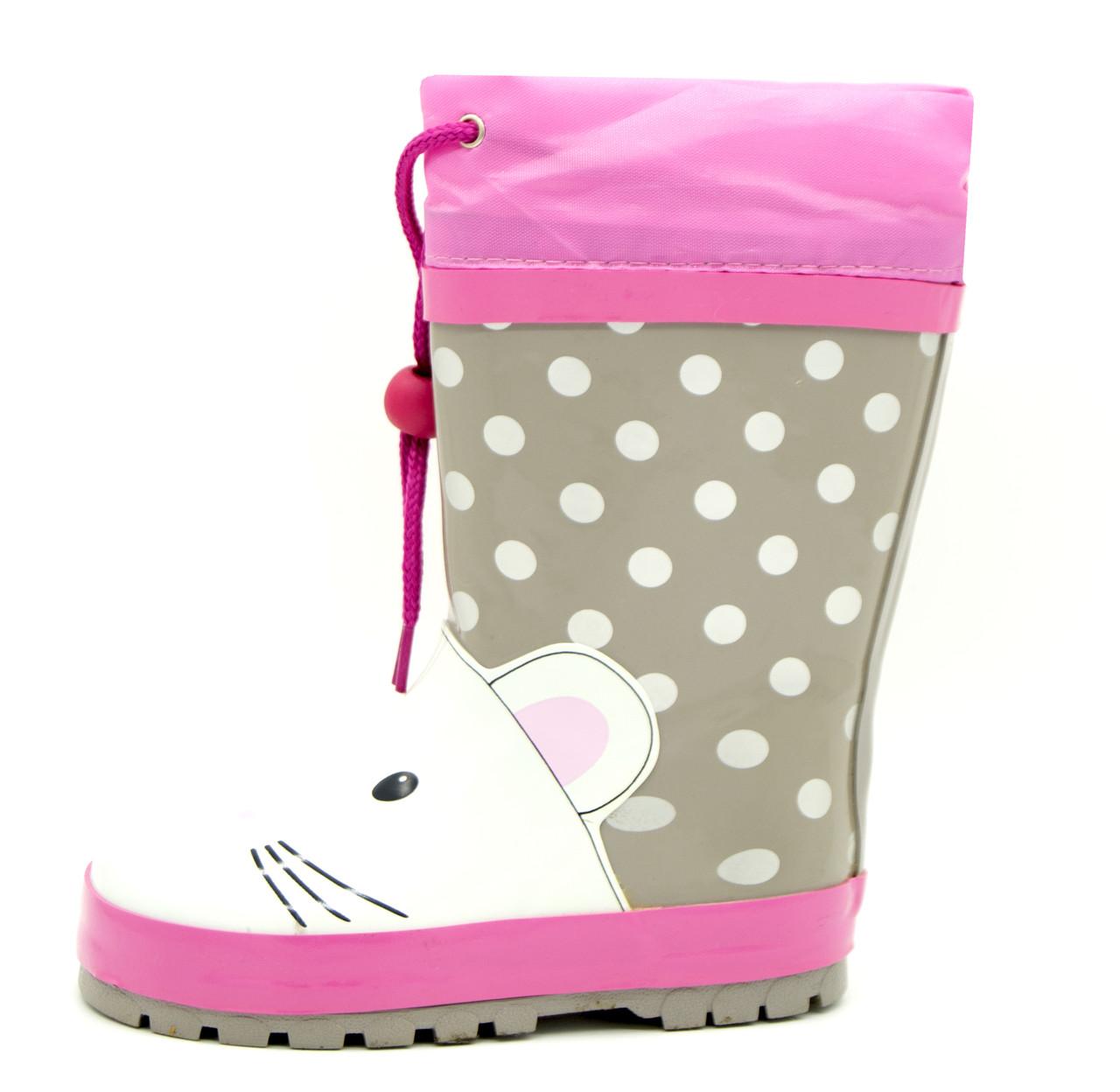 Резиновые сапоги для девочки Серо-розовые Размеры: 27