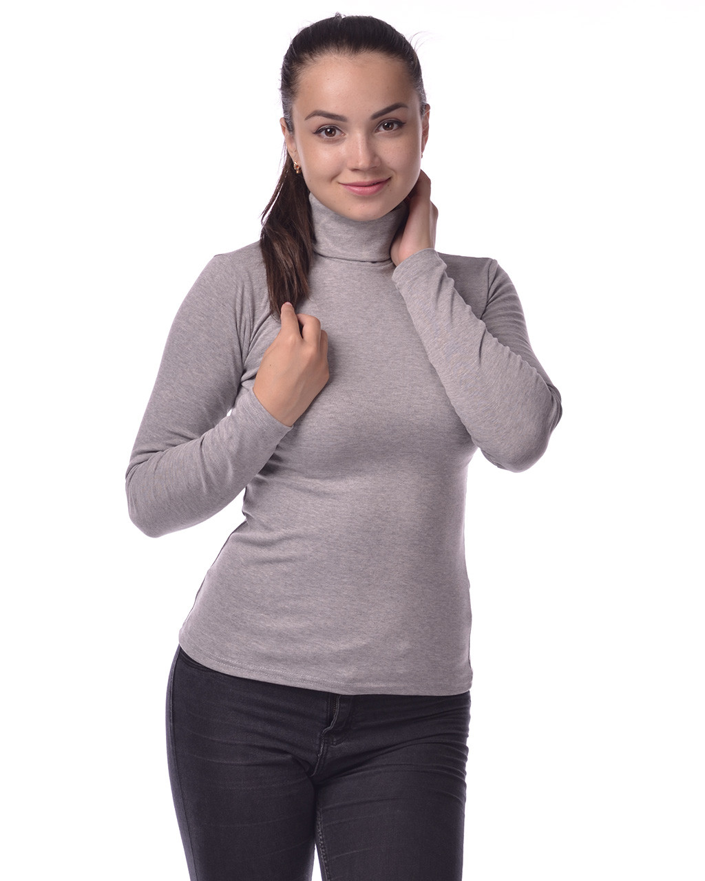 Водолазка гольф женский из полушерсти на флисе М(42-46), светло-серый меланж
