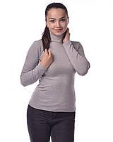 Водолазка гольф женский из полушерсти на флисе М(42-46), светло-серый меланж, фото 1