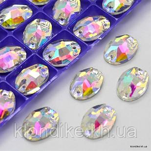 """Стразы пришивные """"Овал"""", стеклянные, 10×14 мм, Цвет: AB Хамелеон (5 шт.)"""