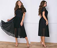Трикотажное платье с сеткой 2046 НК черный