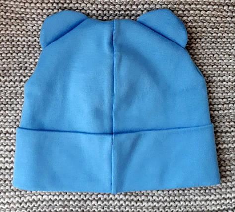 Шапка весна-осень голубого цвета с ушками ТМ  (Украина)  размер  46 48, фото 2