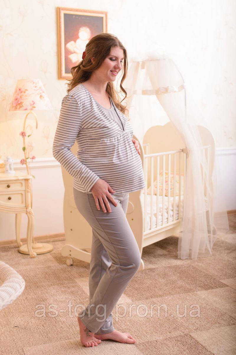 Пижама для беременных и кормящих мам (полоска)