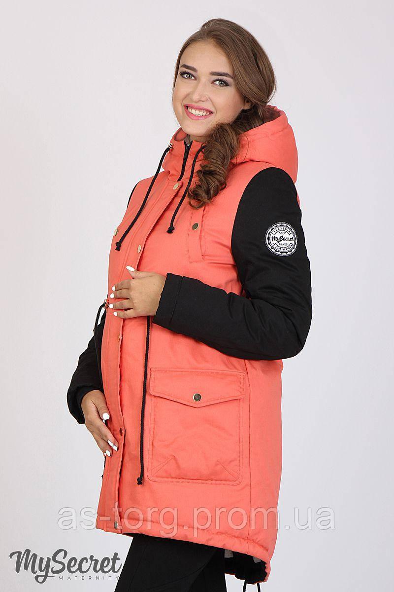 Куртка - парка для беременных Lex (коралл+черный)