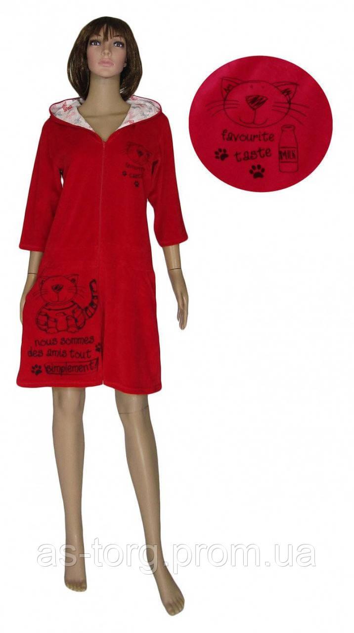 Халат велюровый на молнии для кормящих мам 18044 Simple Cat Red