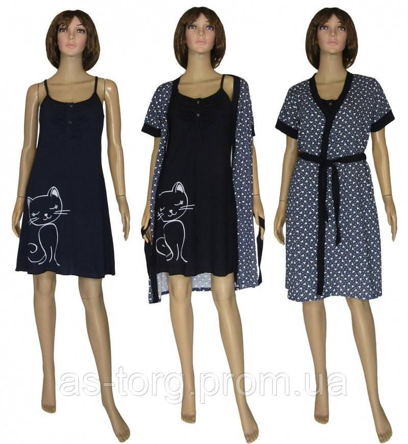 Ночная рубашка и халат для беременных и кормящих 19053 Fanny Cat Leto Dark Blue коттон