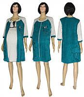 Комплект с велюровым халатом для беременных и кормящих 18047 03278-2 DreamViol Изумруд