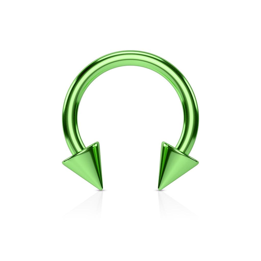 Серьга-циркуляр с шипами зеленая
