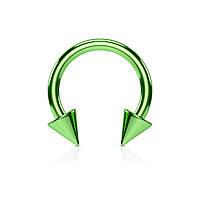 Серьга-циркуляр с шипами зеленая 13