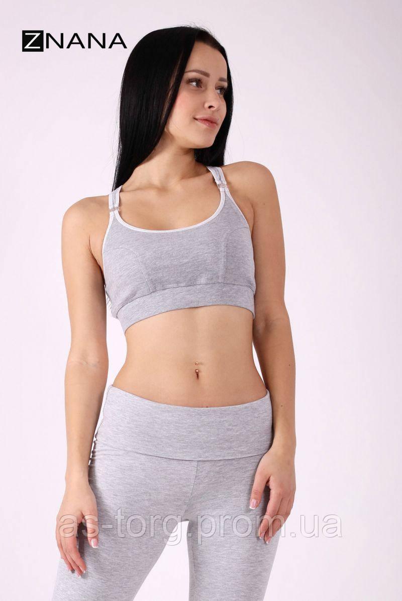 Бюстгальтер-топ SPORT серый меланж для беременных и кормящих мам