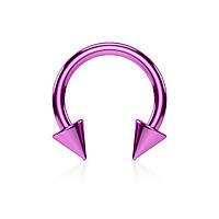 Серьга-циркуляр с шипами пурпурная