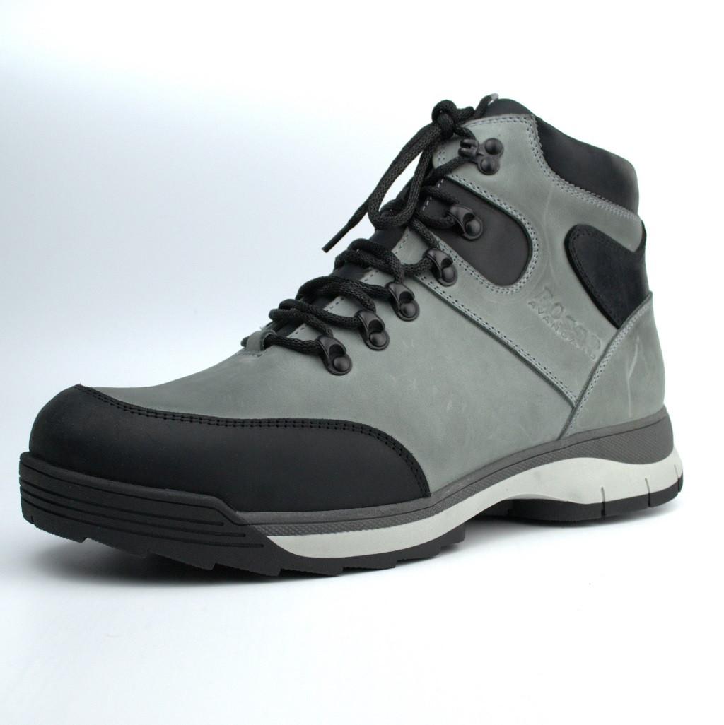 Зимние светло-серые кожаные ботинки на овчине мужская обувь Rosso Avangard Lomerback 2 Bunny Gray Leather