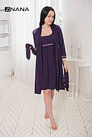 Комплект Lace Баклажан (халат + ночная рубашка) для беременных и кормящих