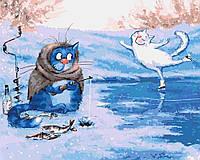 Картины по номерам / обложка. Зимняя рыбалка 40х50см арт. КНО4084