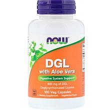 """Деглицирризованный экстракт солодки NOW Foods """"DGL with Aloe Vera"""" с алоэ вера, 400 мг (100 капсул)"""