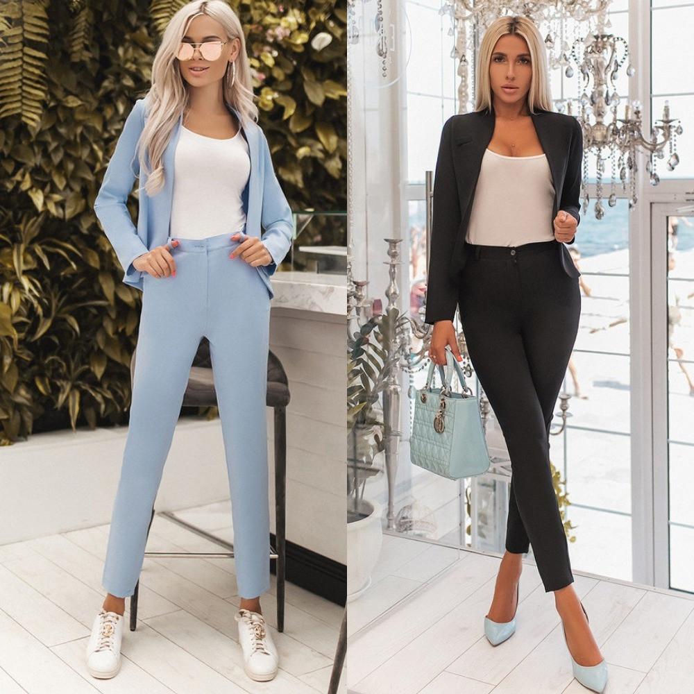 Костюм женский брючный, повседневный, офисный, стильный, деловой, короткий пиджак, фото 1