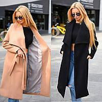 Пальто женское кашемировое, удлиненное, на подкладке, с рабочими карманами, под пояс