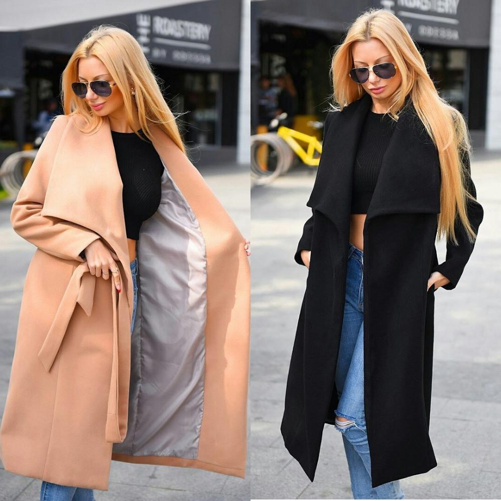 Пальто женское кашемировое, удлиненное, на подкладке, с рабочими карманами, под пояс, фото 1