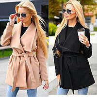 Пальто женское кашемировое, короткое, на подкладке, с рабочими карманами, под пояс
