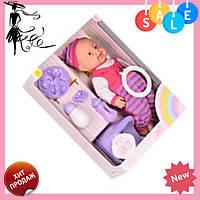 Пупс игрушечный в темно-розовой одежде + посуда и горшок 6115 AC   детская куколка, фото 1