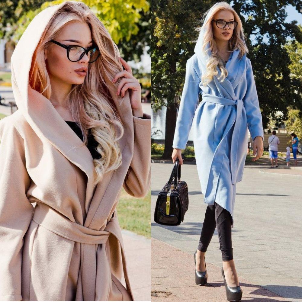 Пальто женское кашемировое, с капюшоном и карманами, стильное, удлиненное, под пояс, фото 1