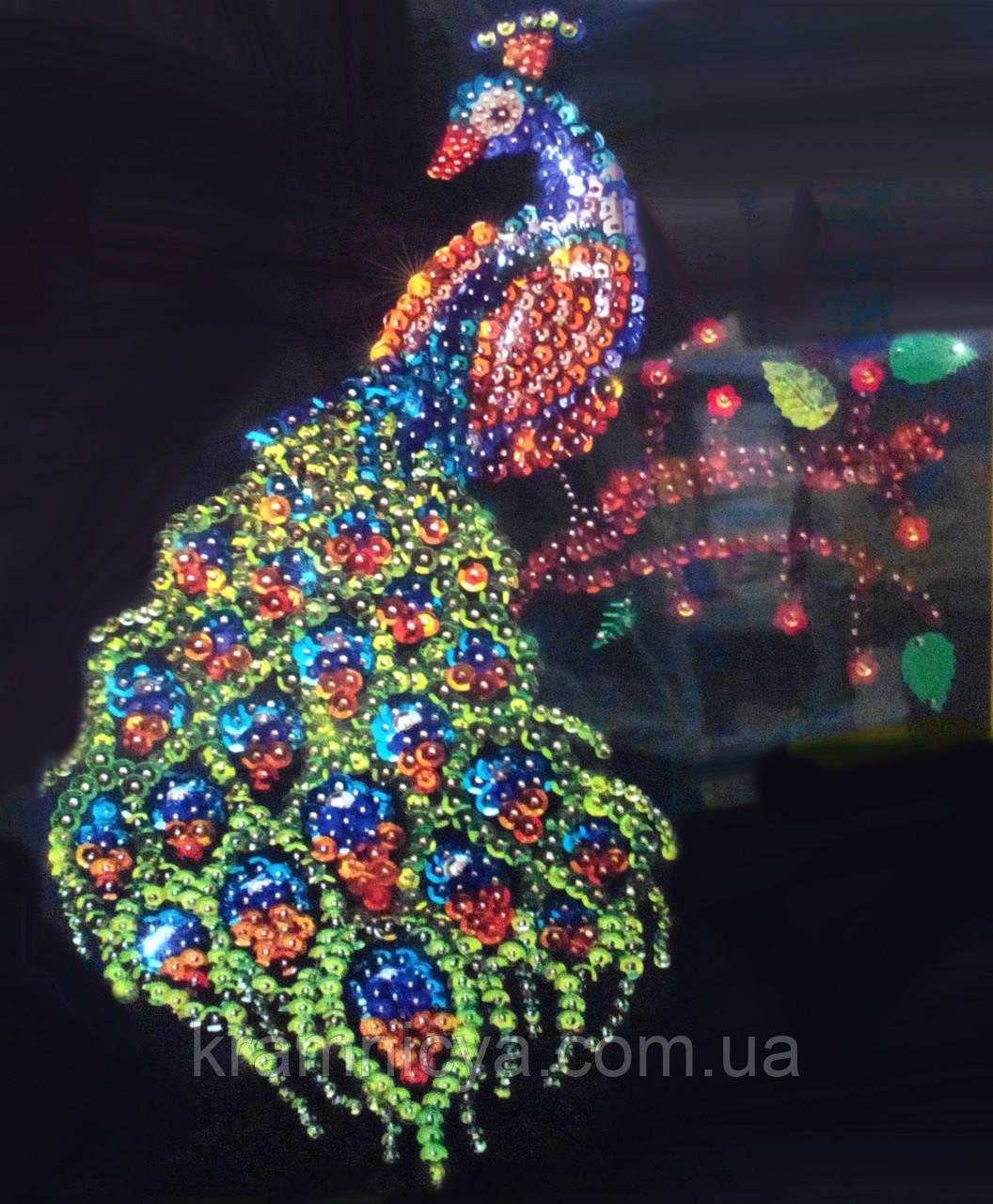 """Мозаика из пайеток """"Павлин"""", Пм-01-06"""