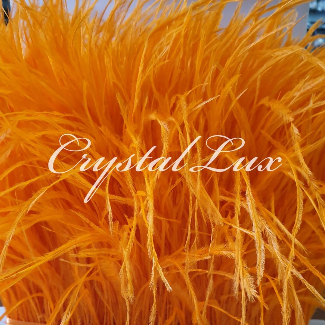 Страусина пір'яна тасьма 10-15см Orange 1м