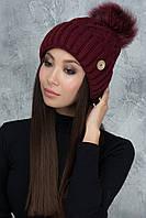 Теплая вязаная шапочка Рима бордо