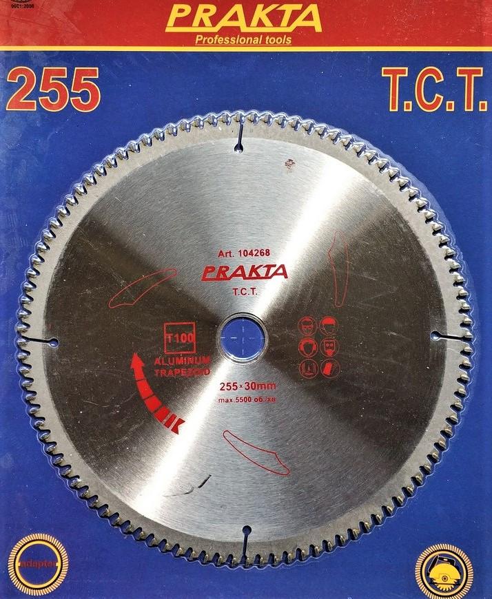 104268 Диск пильний  Prakta   Т.С.Т. 255*30мм* 100T,   алюміній, зуб трапеція
